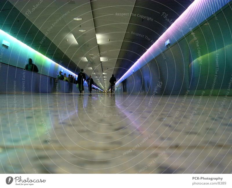 tunnels Tunnel Light tunnel Escalator Prismatic colour Gangway Photographic technology Airport Colour Corridor