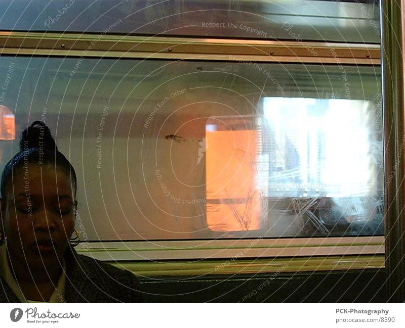sub Underground New York City Passenger Reflection Human being
