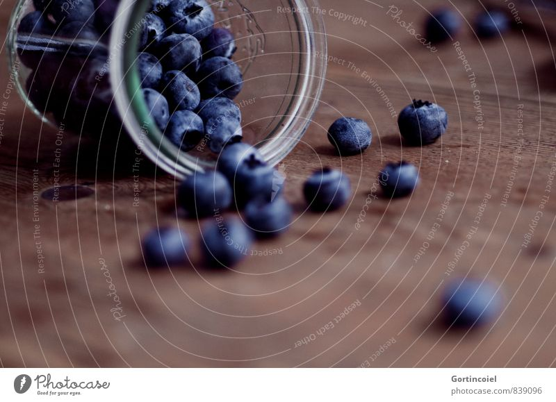 berries Food Fruit Nutrition Organic produce Vegetarian diet Glass Delicious Sweet Blue Brown Blueberry Berries Wooden table Food photograph Colour photo