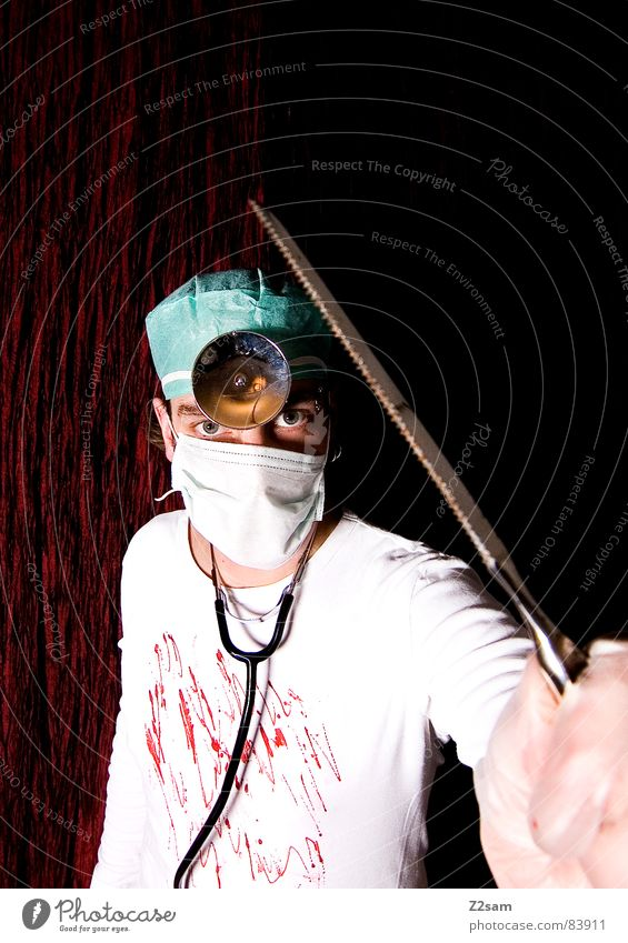 Human being Face Head Lamp Crazy Stand Doctor Hospital Bizarre Musical instrument Blood Forehead Mask Operation Saw Surgery