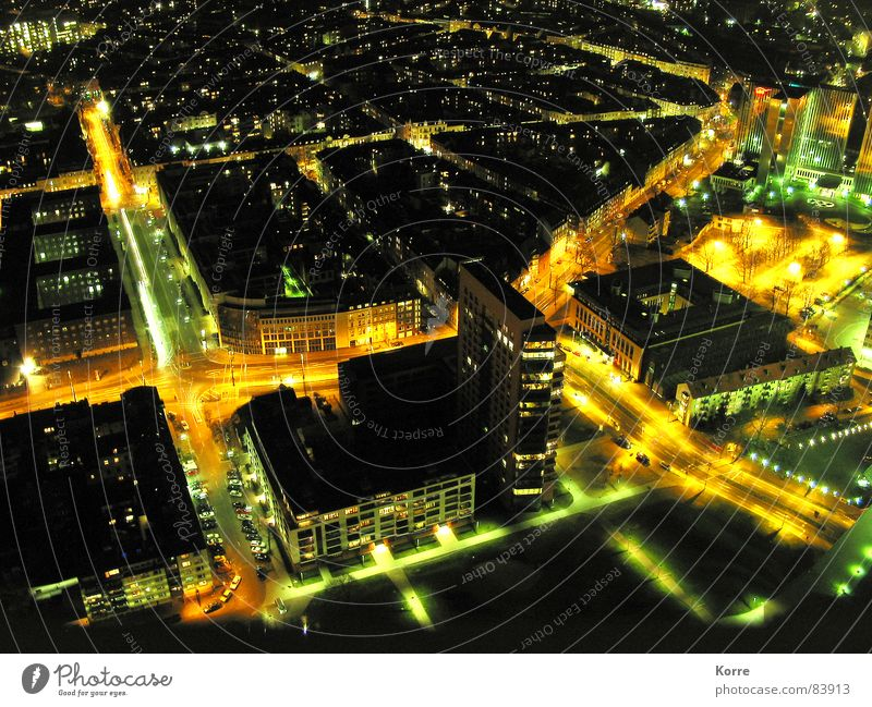sparkling city II Colour photo Exterior shot Aerial photograph Deserted Night Artificial light Light Long exposure Bird's-eye view Energy industry Aviation Town
