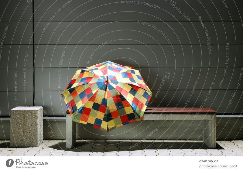 Beautiful Calm Dark Wood Wall (barrier) Rain Concrete Round Bench Umbrella Point Cloth Stalk Silver Tin