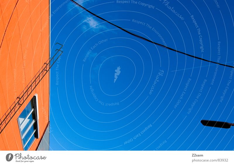 abstract geometry II Abstract Geometry Graphic String Connect Window Perspective Modern Illustration Colour Orange Ladder lines Rope Cable Connection Sky Shadow