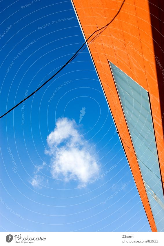 abstract geometry III Abstract Geometry Graphic String Connect Window Perspective Modern Illustration Colour Orange Ladder lines Rope Cable Connection Sky