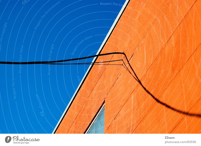 abstract geometry IV Abstract Geometry Graphic String Connect Window Perspective Modern Illustration Colour Orange Ladder lines Rope Cable Connection Sky Shadow