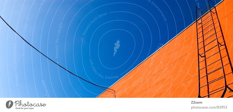 Sky Colour Above Window Orange Rope Tall Perspective Stairs Modern Cable String Connection Illustration Upward