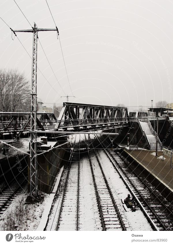 Sky Clouds Cold Snow Berlin Gray Railroad Stairs Bridge Frost Railroad tracks Station Train station Ladder Dreary