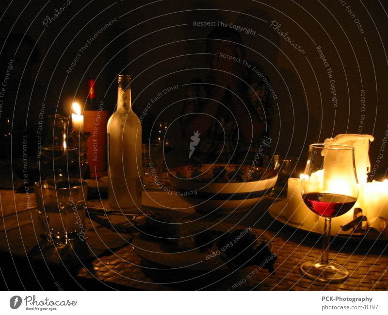 wine and more Wine glass Bottle of wine Moody Still Life Ambient Light Candlelight Dark Dinner Style Together Gold Deep
