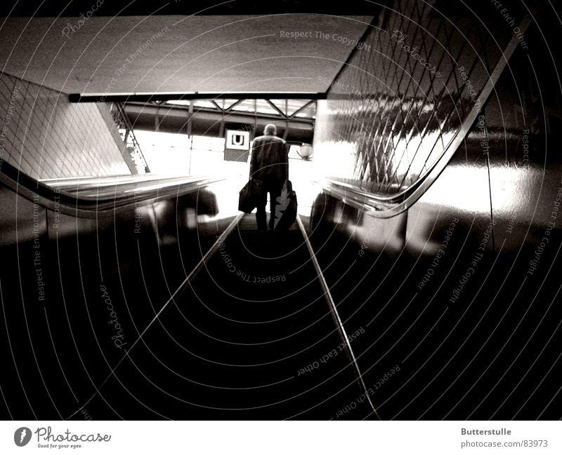 Human being Vacation & Travel Loneliness Gloomy Under Underground Train station Escalator