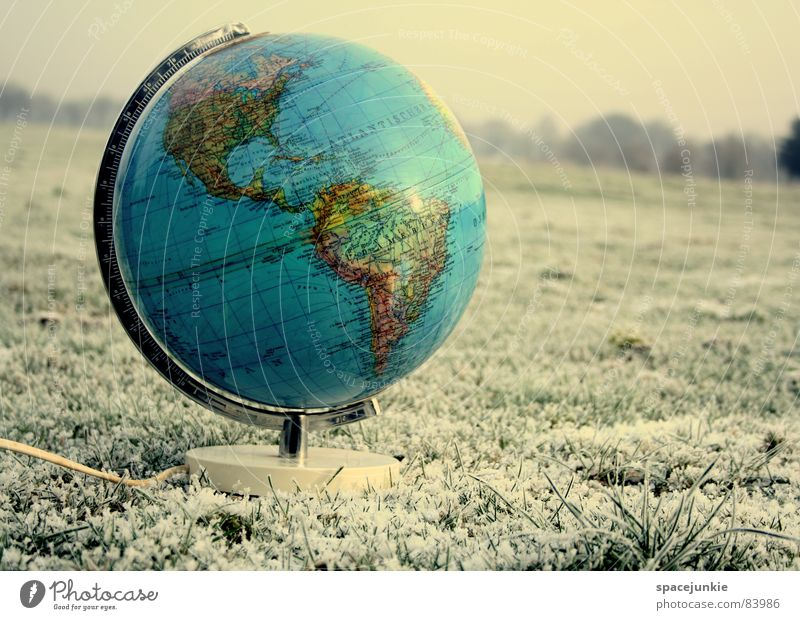 Winter Cold Snow Grass Earth Map Continents Frost USA Lawn Climate Americas Globe Freeze Pasture