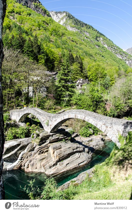 Nature Vacation & Travel Landscape Rock Europe Bridge River Alps Switzerland Canton Tessin