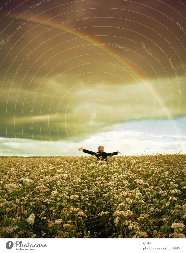 Somewhere under the rainbow... Sky Joy Rainbow field flowers clouds happy hug