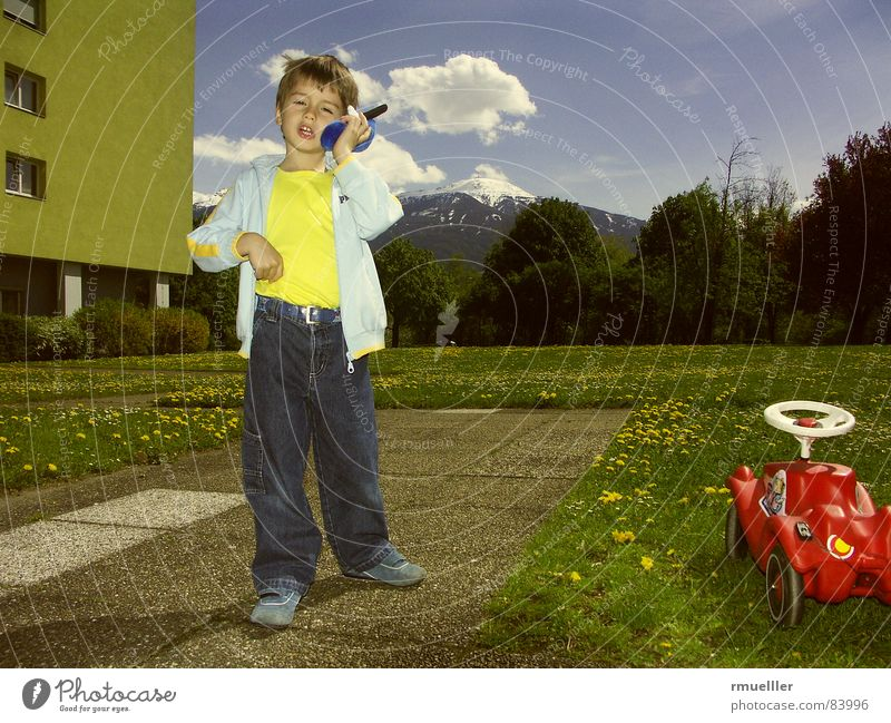 Child Green Blue Joy Summer Yellow Meadow Playing To talk Boy (child) Mountain Garden Dream Funny Leisure and hobbies Telephone
