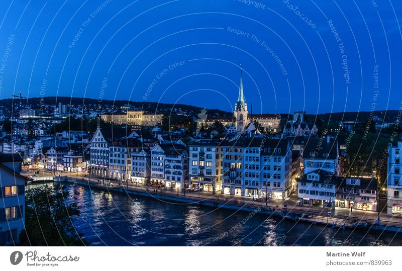 blue Zurich River Switzerland Europe Town Downtown Old town House (Residential Structure) Church Vacation & Travel Twilight Reflection Colour photo
