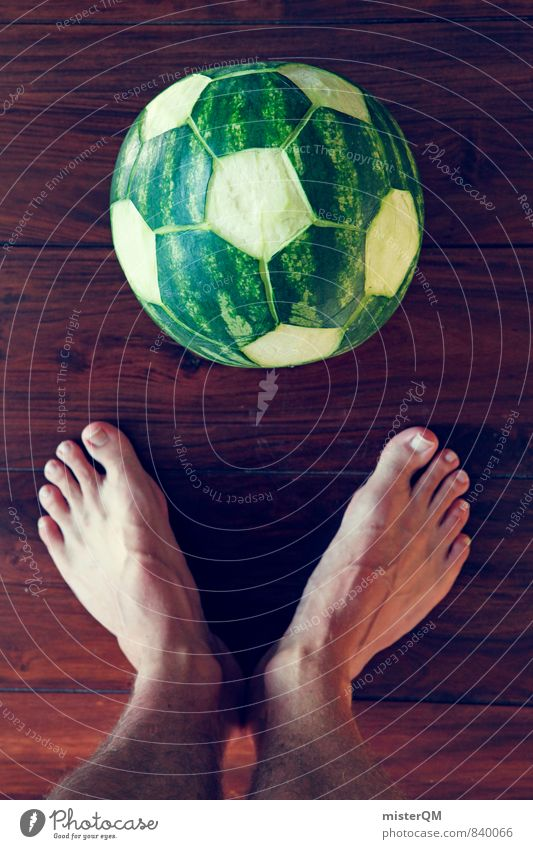 Sports Art Esthetic Soccer Creativity Idea Foot ball Athletic Barefoot Work of art Football pitch World Cup Soccer player Derby Graven Water melon