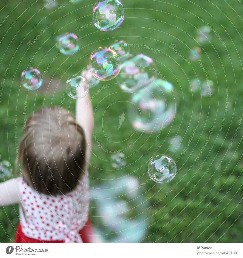 joy Human being Feminine Child Toddler Girl 1 1 - 3 years Crazy Soap bubble Dress Multicoloured Grass Playing Joy Infancy Bubble Floating Hover Dream