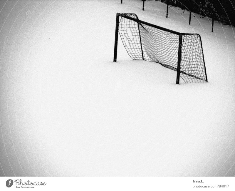 Gate in the snow St. Pauli Snow layer Virgin snow Broken Grainy Fence Bushes Cold Loneliness Empty Deserted Leisure and hobbies Ball sports bad lens Soccer