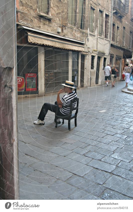 waiting for customers ... Venice Italy Vacation & Travel Boredom Wait Chair Alley Gondolier Pedestrian precinct Places Patient Indigenous Townsfolk