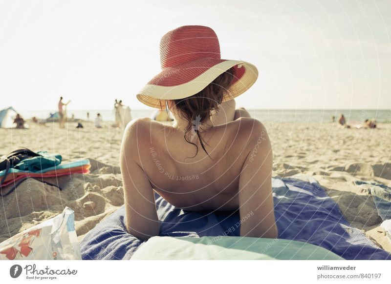 Girl with hat from behind on the beach Wellness Harmonious Well-being Contentment Vacation & Travel Tourism Trip Summer Summer vacation Sun Sunbathing Beach