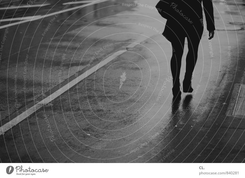 Human being Woman Youth (Young adults) City Water Loneliness Young woman Adults Life Street Movement Autumn Feminine Lanes & trails Gray Going
