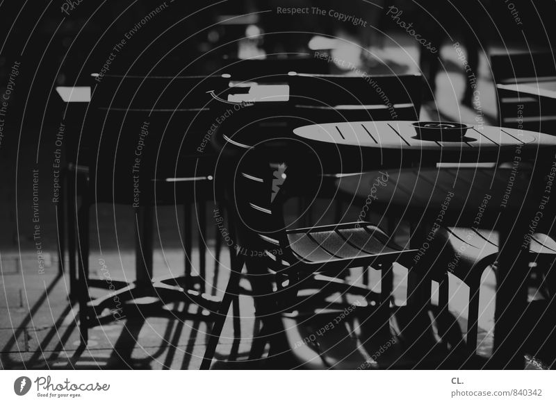 Peace and quiet in the city Chair Ashtray Table Sit Gloomy Calm Café Restaurant Deserted Opening time Closed Black & white photo Exterior shot Day Light Shadow