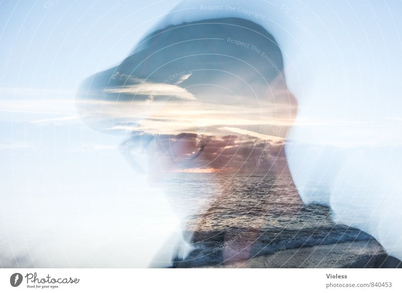 pictures in the head... Masculine Man Adults Head Landscape Sunrise Sunset Waves Discover Exceptional Fantastic Joy Cool (slang) Double exposure Eyeglasses