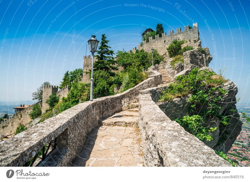 San Marino castle. Summer time Vacation & Travel Mountain Landscape Sky Tree Hill Rock Small Town Castle Building Architecture Stone Old Historic marino san