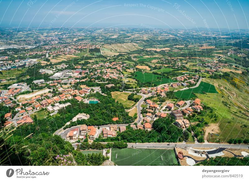 High view from San Marino Vacation & Travel Mountain House (Residential Structure) Nature Landscape Tree Hill Small Town Building Architecture Aircraft Modern