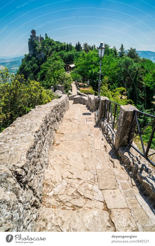 San Marino castle. Summer time Sky Vacation & Travel Old Tree Landscape Mountain Architecture Building Stone Rock Europe Vantage point Historic Hill Italy