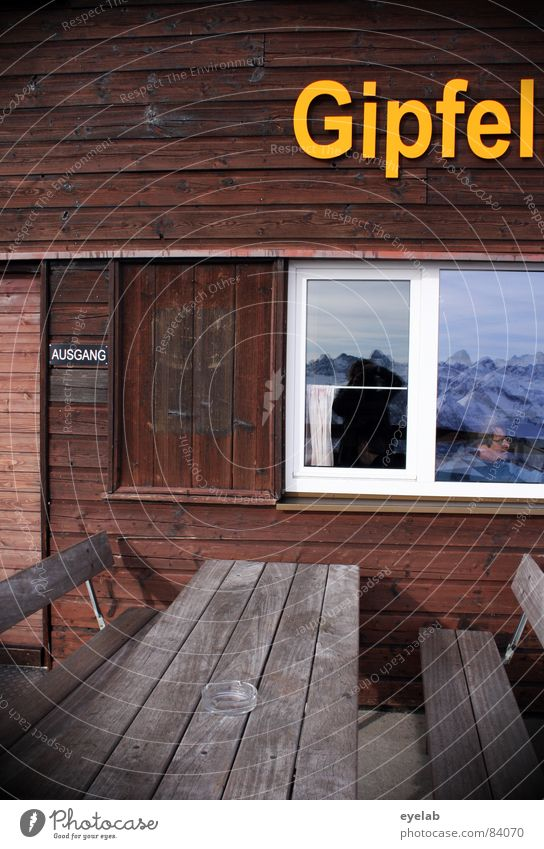Winter Window Mountain Yellow Wood Brown Glass Characters Table Letters (alphabet) Alps Bench Climbing Restaurant Entrance Alpine pasture