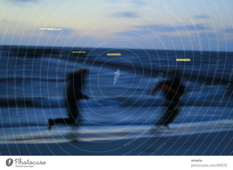 Human being Sky Ocean Winter Beach Coast Weather Dusk Children's game Firmament
