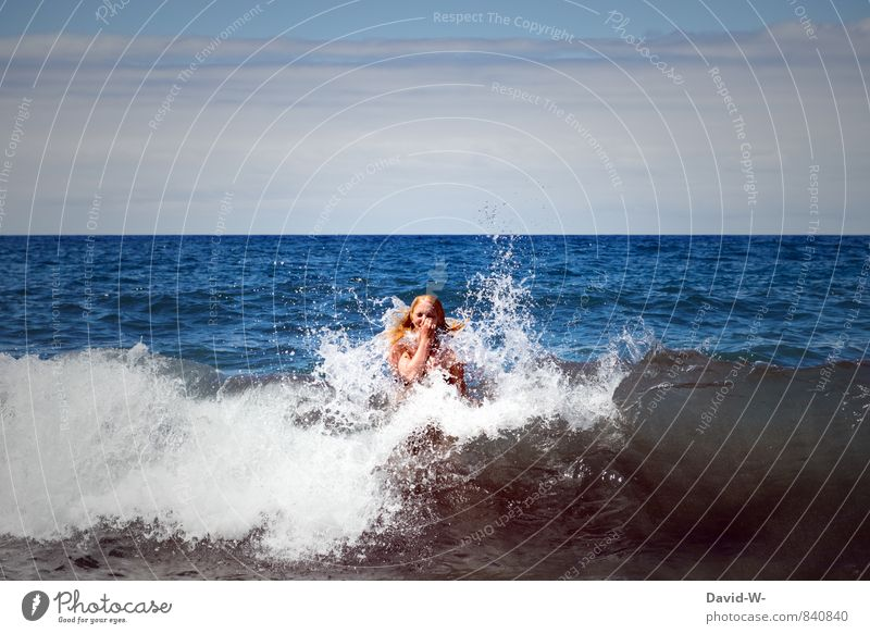 Swallowed by the ocean Joy Life Swimming & Bathing Vacation & Travel Tourism Summer vacation Sunbathing Beach Ocean Waves Aquatics Feminine Young woman