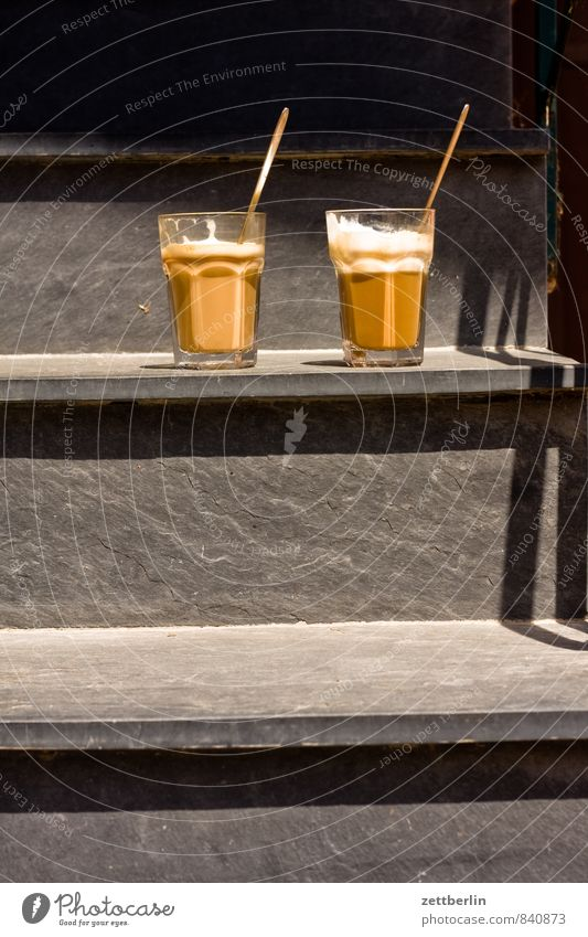 Sun Stairs Glass In pairs Beginning Break Coffee Café Breakfast Milk Spoon Slate Arise Latte macchiato Caffeine Milkshake