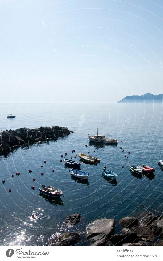 Blue Ocean Landscape Coast Rock Beautiful weather Italy Harbour Navigation Mediterranean sea Rowboat Ferry Fishing boat Boating trip Motorboat Dinghy
