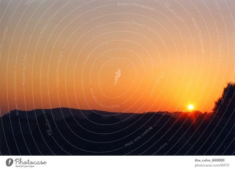 The sun explodes Sunset Evening