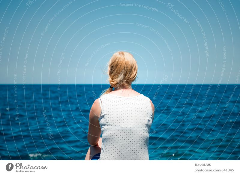 Human being Woman Vacation & Travel Youth (Young adults) Blue Beautiful Water Ocean Relaxation Young woman Calm Far-off places Adults Life Feminine