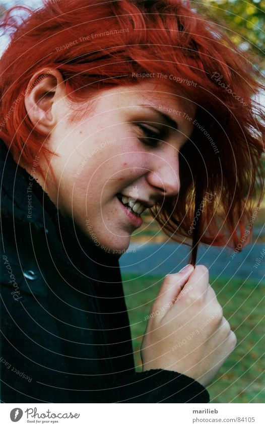 Woman Hand Red Joy Face Laughter Hair and hairstyles Fingers Teeth Red-haired Strand of hair