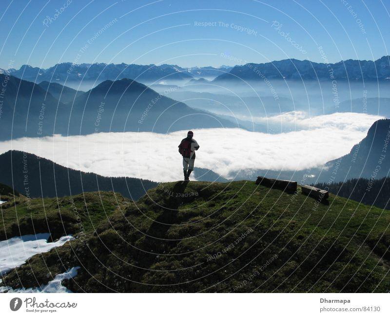 High Top Mountaineer Fog Light Alps Valley Shadow Sky