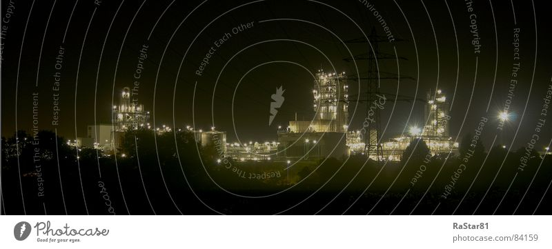 Industry Skyline Dark Night shot Long exposure Panorama (View) Black HDR Light Shadow Large Panorama (Format)