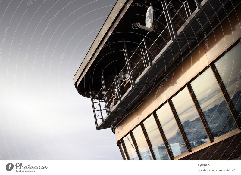 Panorama Filter Vantage point Dish antenna Receiving station Nebelhorn Tea with schnaps Building Satellite Antenna Railing Platform Peak Restaurant Allgäu