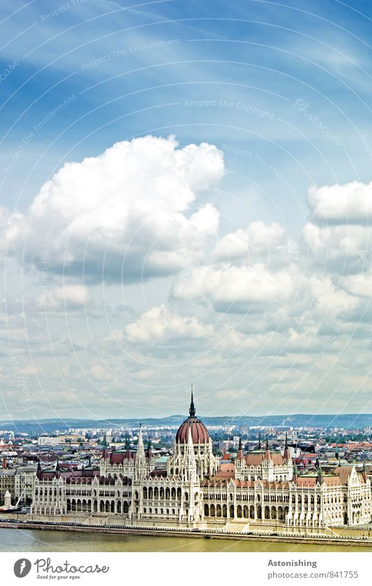 Parliament Budapest Environment Nature Air Water Sky Clouds Horizon Summer Weather Beautiful weather River Danube Hungary Europe Town Capital city Downtown