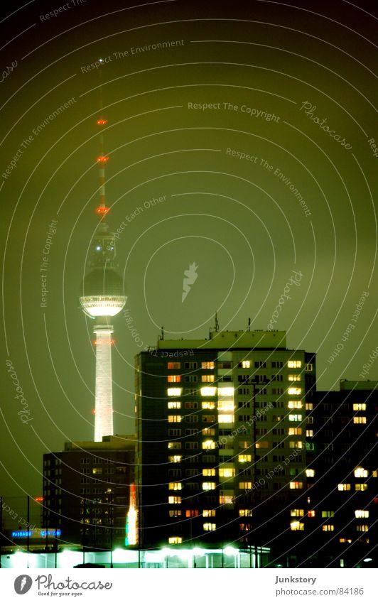City Lamp Dark Cold Berlin Glittering Modern Dusk Prefab construction Night life Alexanderplatz Friedrichshain Warschauer Straße