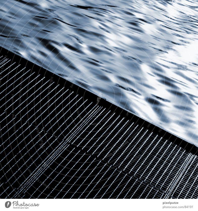 outflow Flash Meticulous Neckar Go under Crash Waves Fluid Wet Damp Footbridge Square Gray Black Harmonious Drop anchor Stuttgart Drainage Brook Electricity