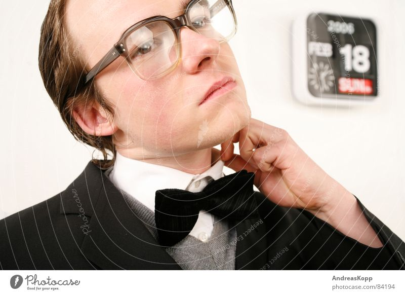 Business Fear Wait Glass Eyeglasses Clock Suit Shirt Panic Teacher Motionless Nerviness Date Bow tie Agitated