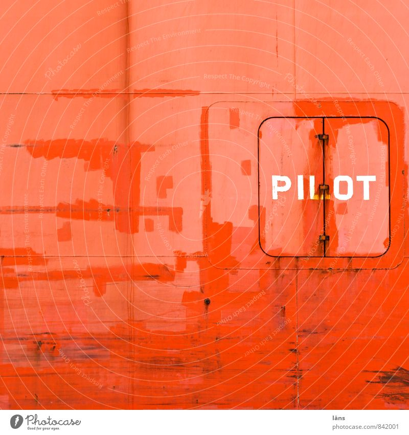 pilot Pilot Harbour Transport Logistics Navigation Container ship Watercraft Metal Characters Old Maritime Orange Red Wall (building) Hull Steel Hatch Closed