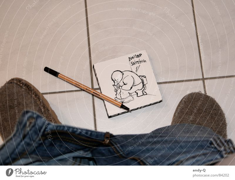 Black Cold Leisure and hobbies Footwear Sit Bathroom Humor Painting and drawing (object) Concentrate Tile Meeting Toilet Boredom Pen Drawing Conceptual design