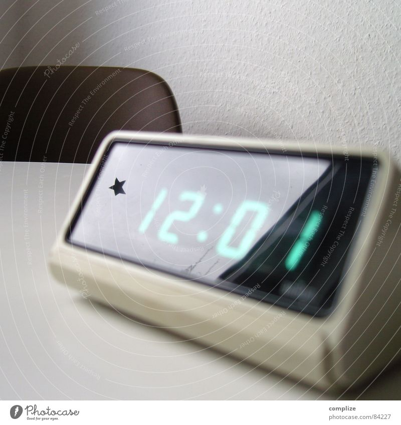 *12:01 LED alarm clock from the 70s Design Clock Digits and numbers Digital clock Alarm clock Seventies Midday Digital photography Display Retro Time Reflection
