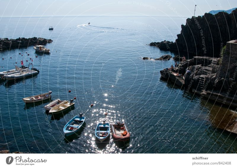 Blue Ocean Landscape Far-off places Coast Rock Horizon Waves Beautiful weather Italy Bay Harbour Navigation Rowboat Yacht Fishing boat