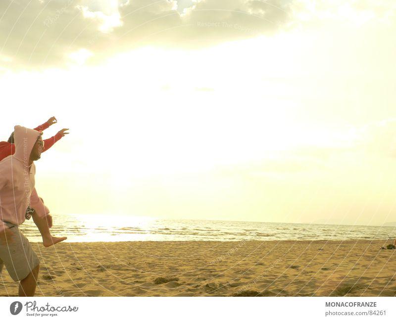 Sun Ocean Summer Joy Beach Jump Sand Coast Walking Running Italy Joie de vivre (Vitality) To enjoy Lust Sweater Dusk