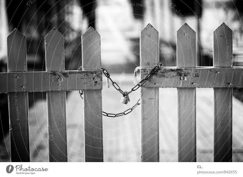 exclusive Lock Protection Safety Bans Lanes & trails Chain Fence Closed Barrier Main gate Entrance Wooden fence Gate Dismissive Black & white photo